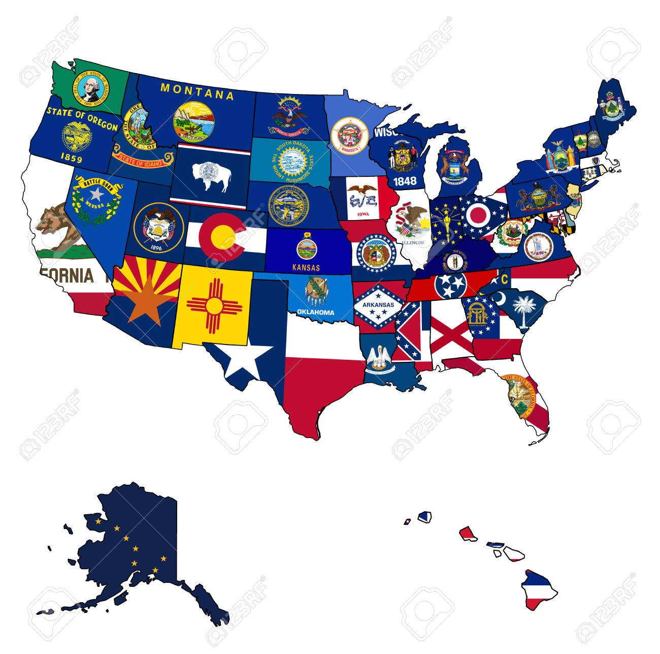 state flags on old vintage map of usa with state borders stock po 24015347