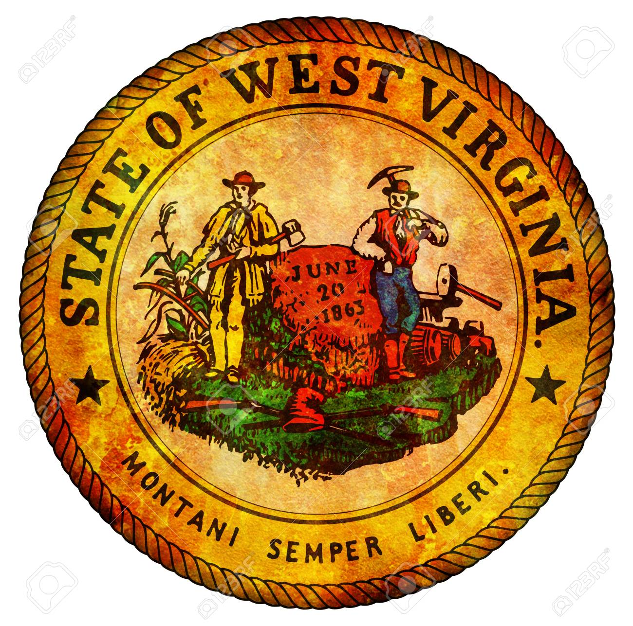 Old Vintage Isolated Over White Symbol Of West Virginia Stock Photo