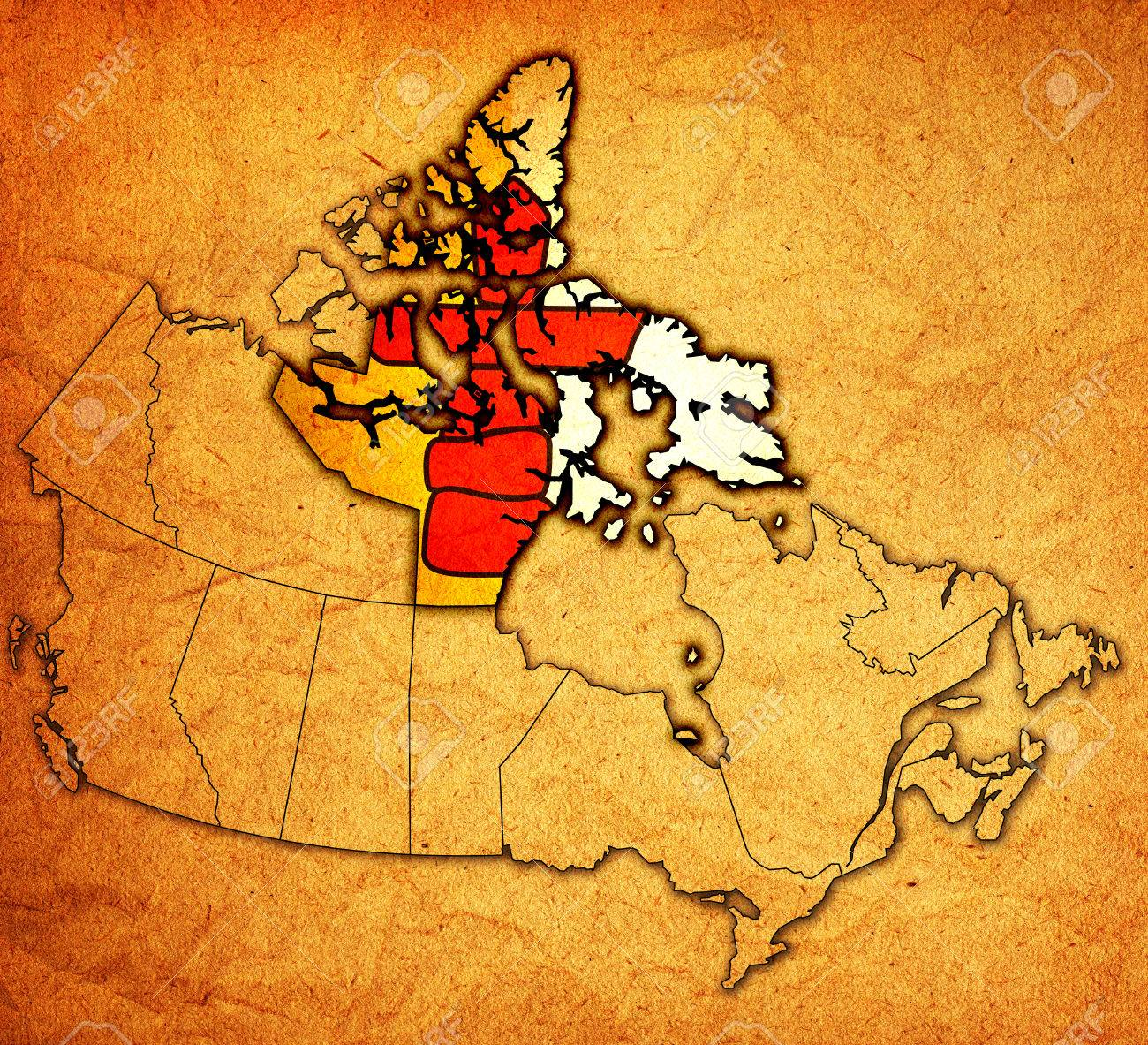 Map Of Canada Nunavut.Nunavut On Administration Map Of Canada With Flags