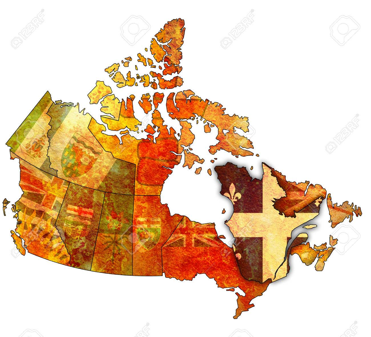 quebec on administration map of canada with flags stock photo