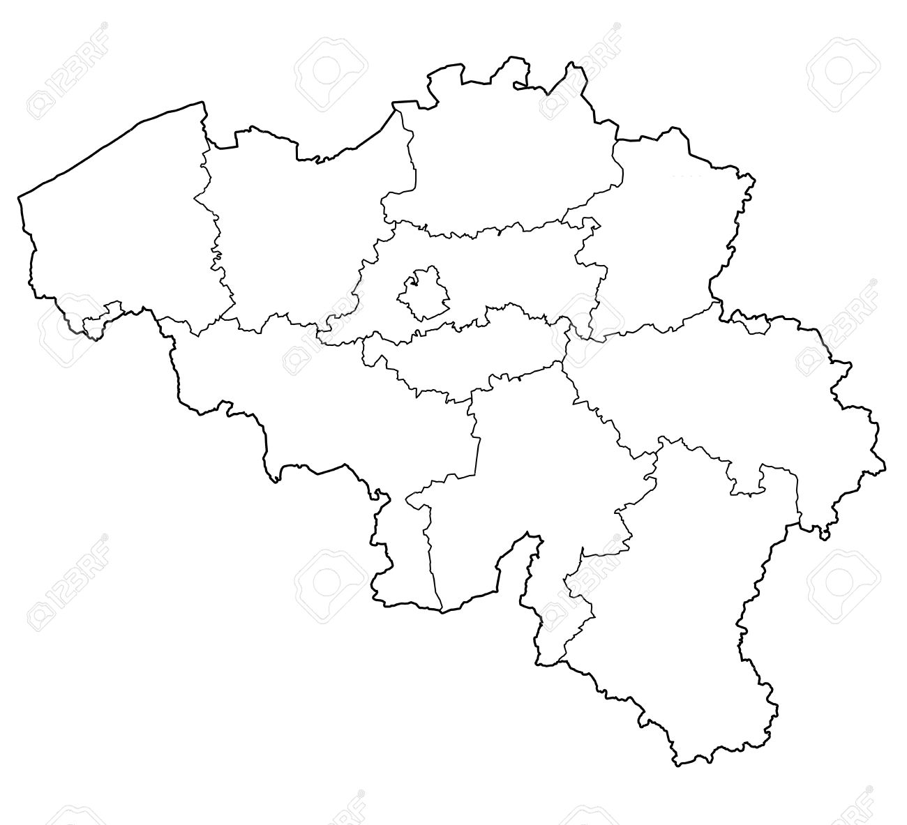 Provinces On Administration Map Of Belgium With Flags Photo – Belgium Provinces Map