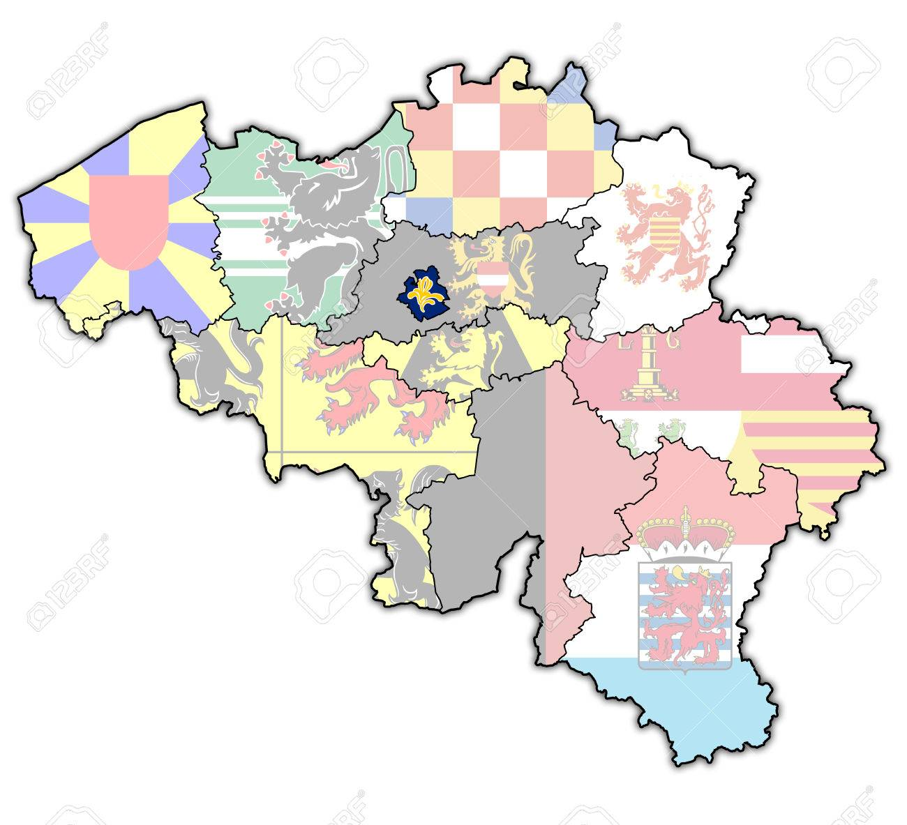 Brussels On Administration Map Of Belgium With Flags Stock Photo - Brussels belgium map