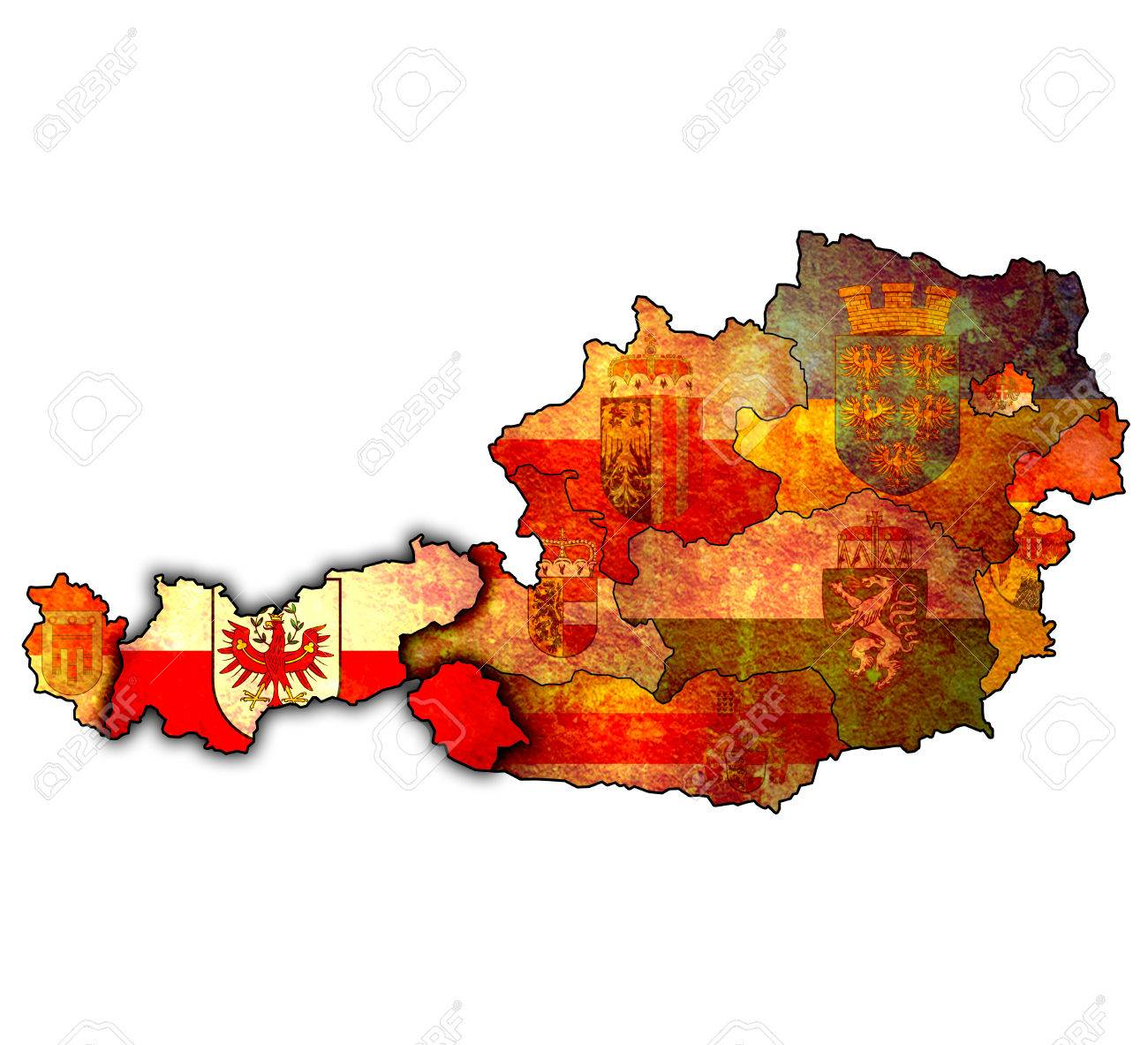 Tirol Flag On Map Of Austria With Administrative Divisions Stock
