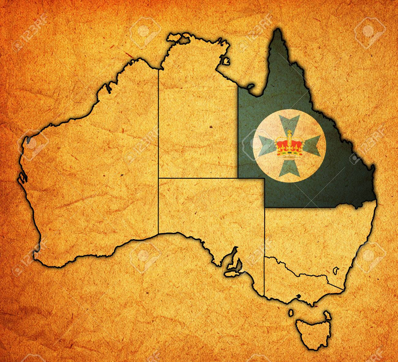 Queensland Flag On Map Of Australia With Administrative Divisions