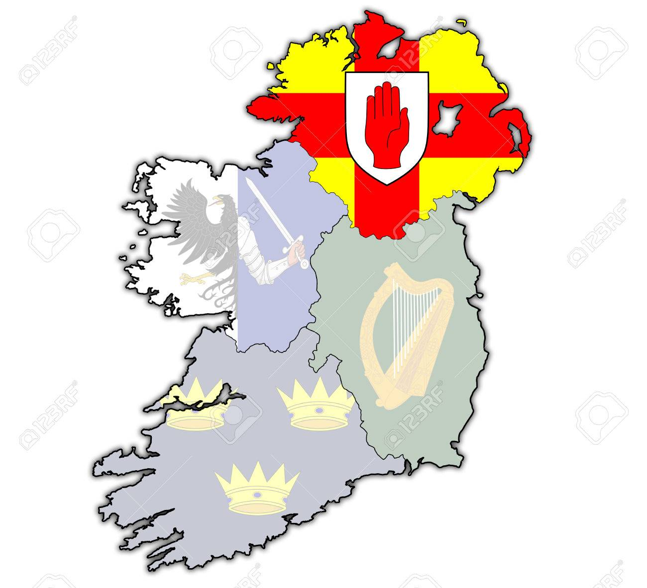 Ulster With Borders And Flags Of Provinces On Map Of Ireland Stock
