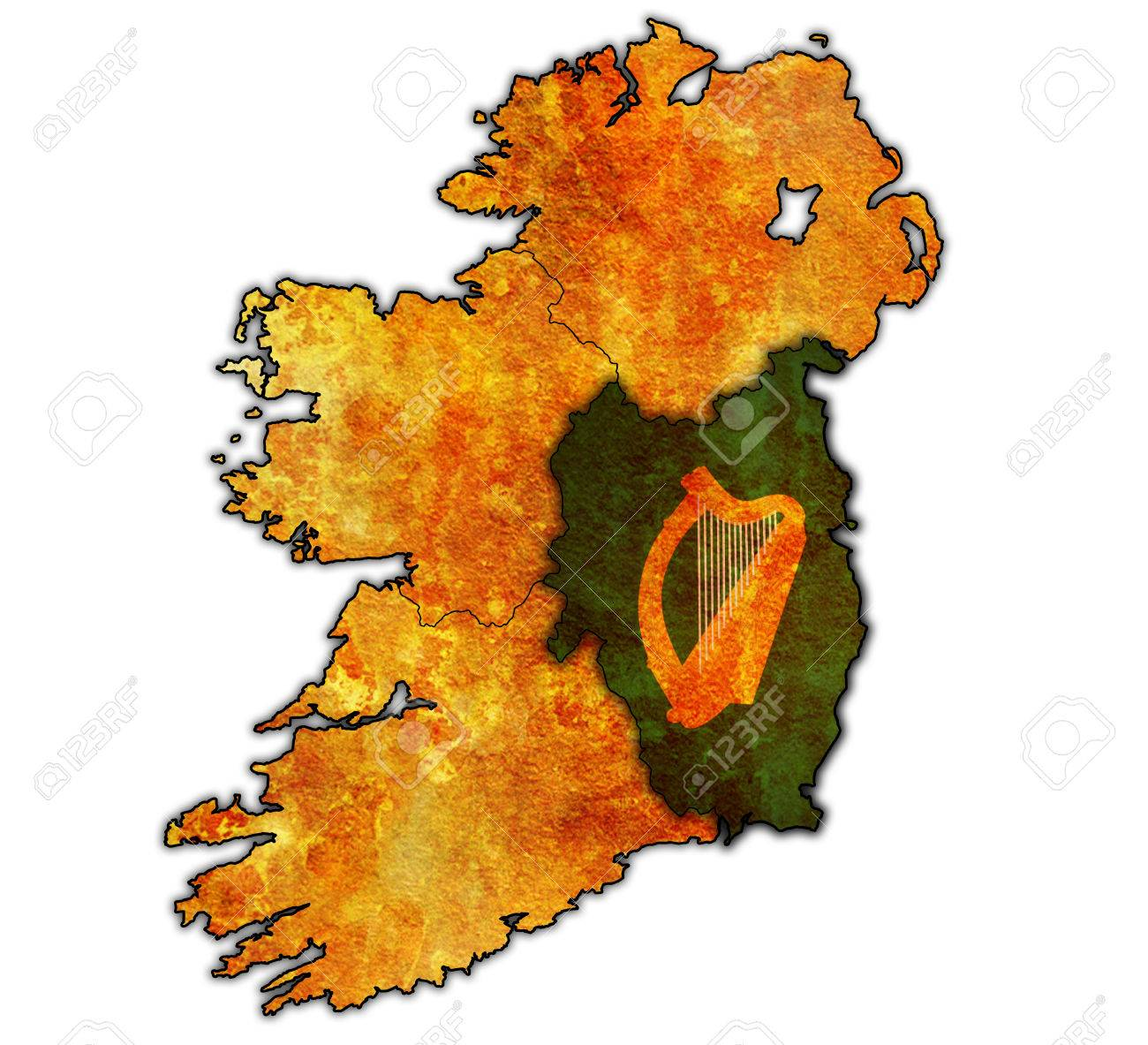 leinster with borders and flags of provinces on map of ireland