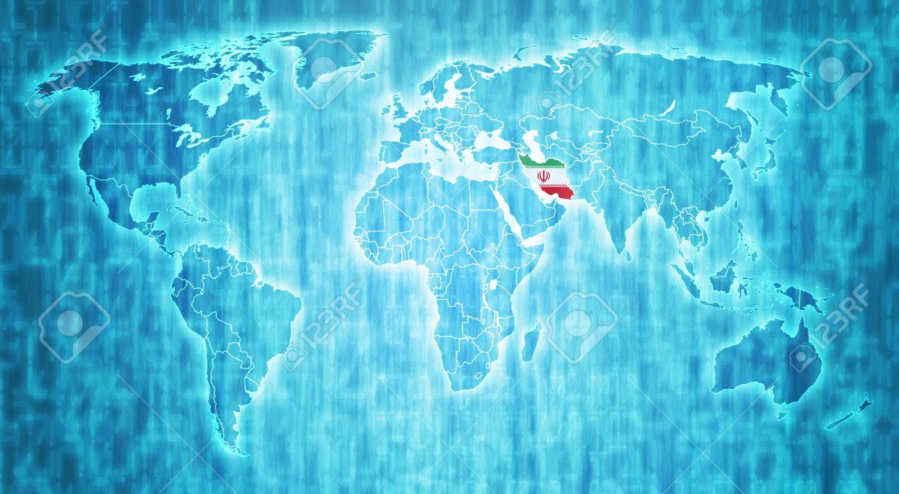 Iran flag on blue digital world map with actual national borders iran flag on blue digital world map with actual national borders stock photo 34605438 gumiabroncs Images