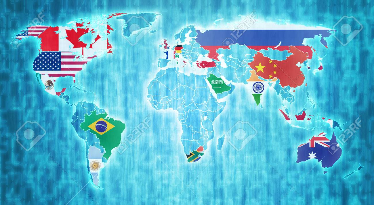 Group of twenty country flags on blue digital world map with stock group of twenty country flags on blue digital world map with actual national borders stock photo gumiabroncs Choice Image