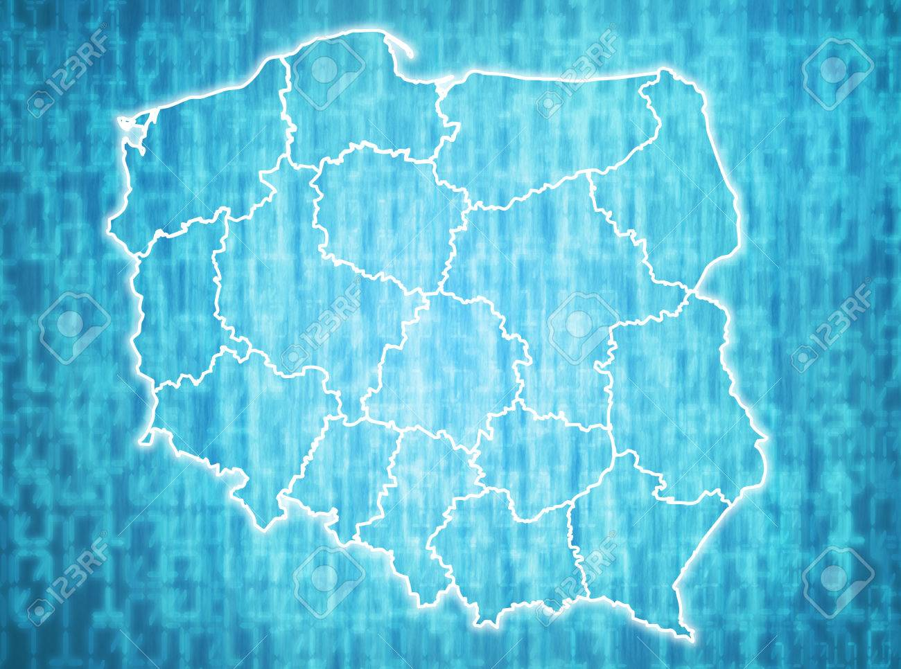 Map Of Poland With Administrative Divisions Over Digital Background