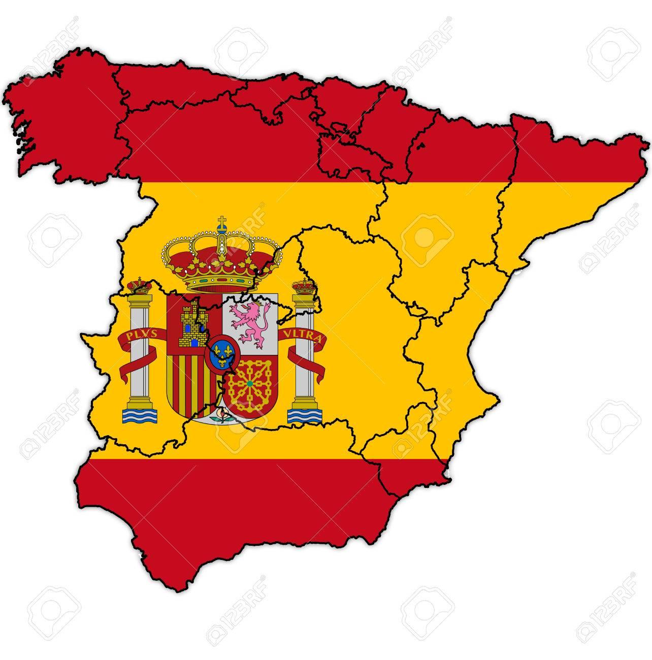 国旗とスペインの地方行政区画の...