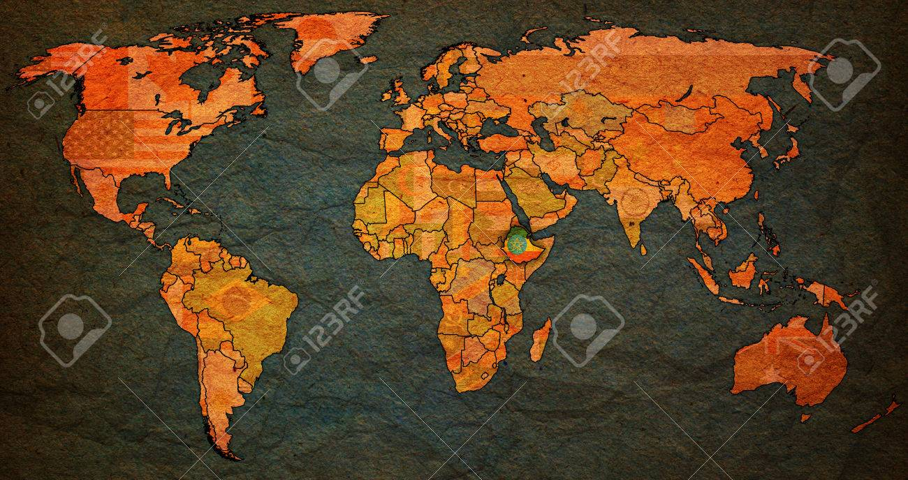 Ethiopia flag on old vintage world map with national borders stock ethiopia flag on old vintage world map with national borders stock photo 46922332 gumiabroncs Images