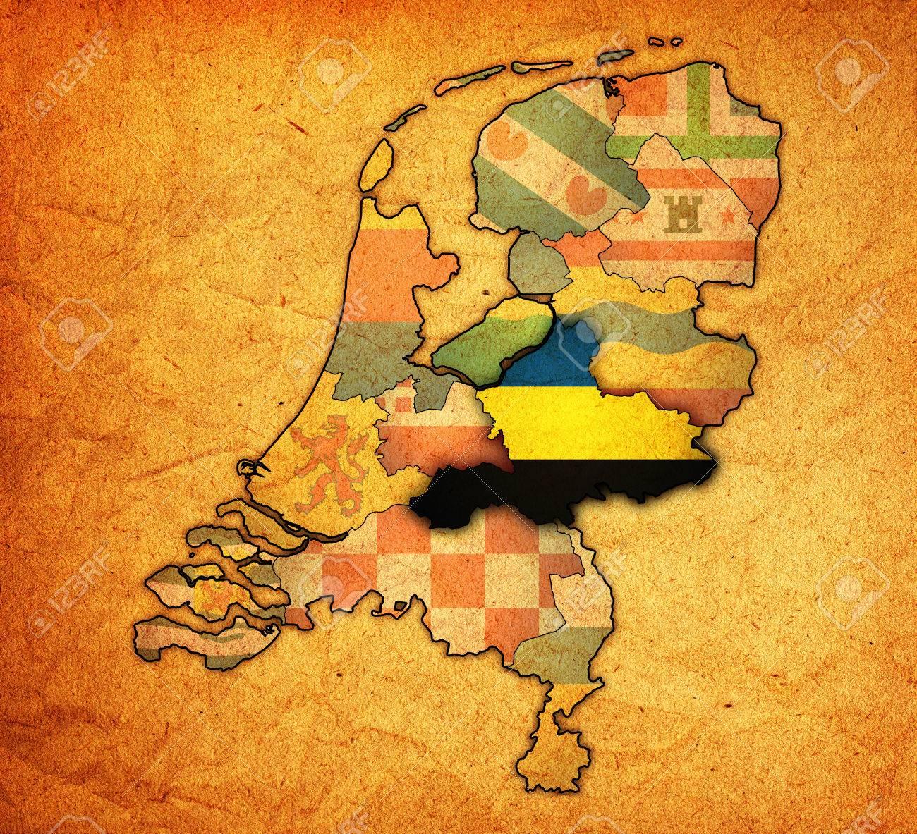 Gelderland Flag On Map With Borders Of Provinces In Netherlands