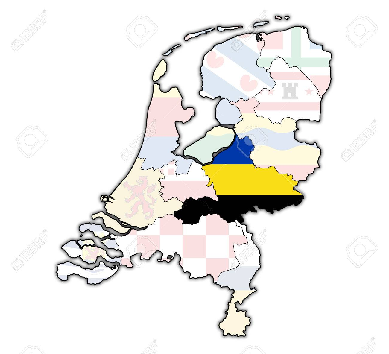 Gelderland Flag On Map With Borders Of Provinces In Netherlands