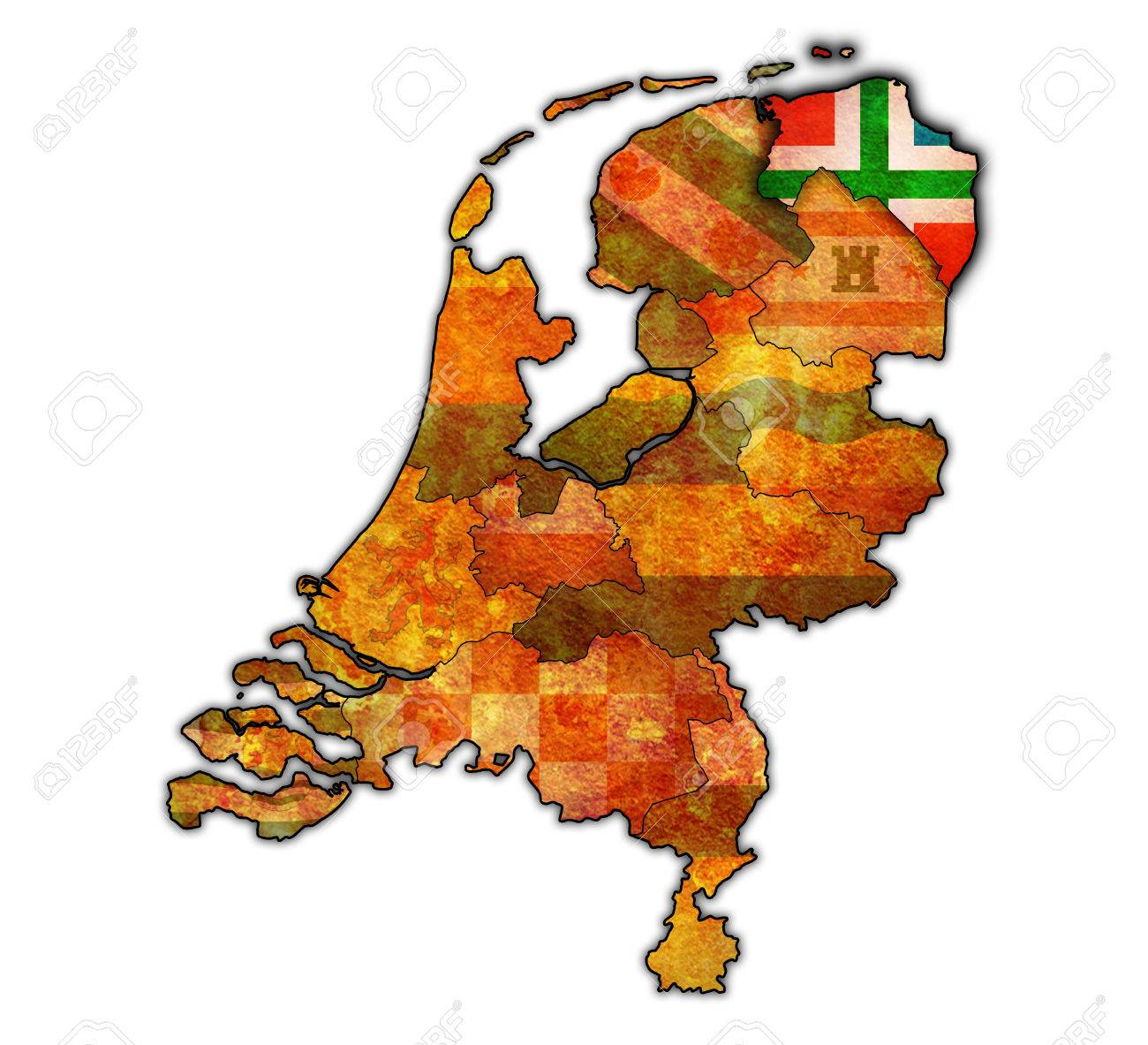 Groningen Flag On Map With Borders Of Provinces In Netherlands Stock ...