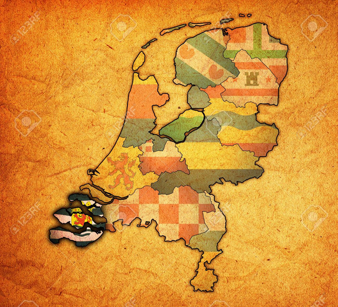 Zeeland Flag On Map With Borders Of Provinces In Netherlands Stock