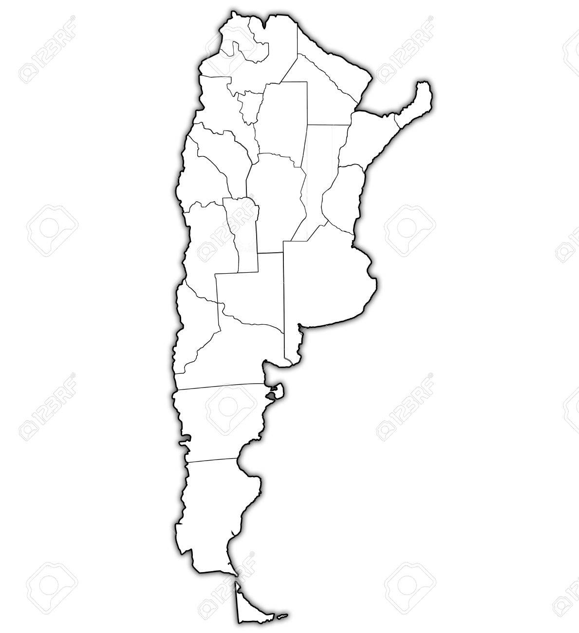 Regions Of Argentina With Borders On Map Of Administrative Divisions