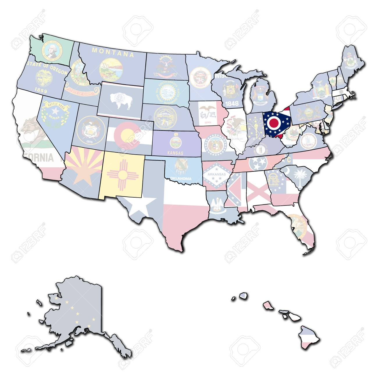 Ohio On State Map.Ohio On Isolated Map Of United States Of America With State Borders