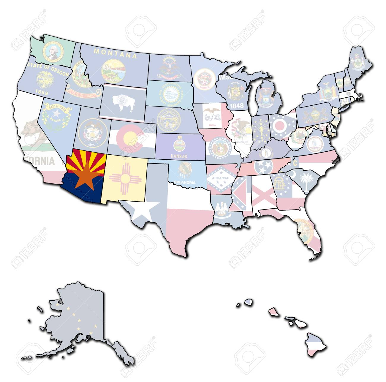 Arizona On Isolated Map Of United States Of America With State ...