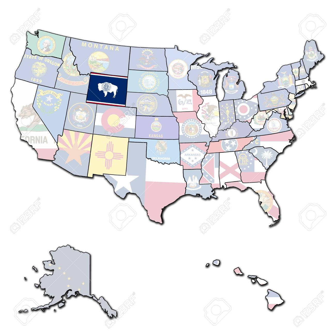 Wyoming On Isolated Map Of United States Of America With State - Wyoming-us-map