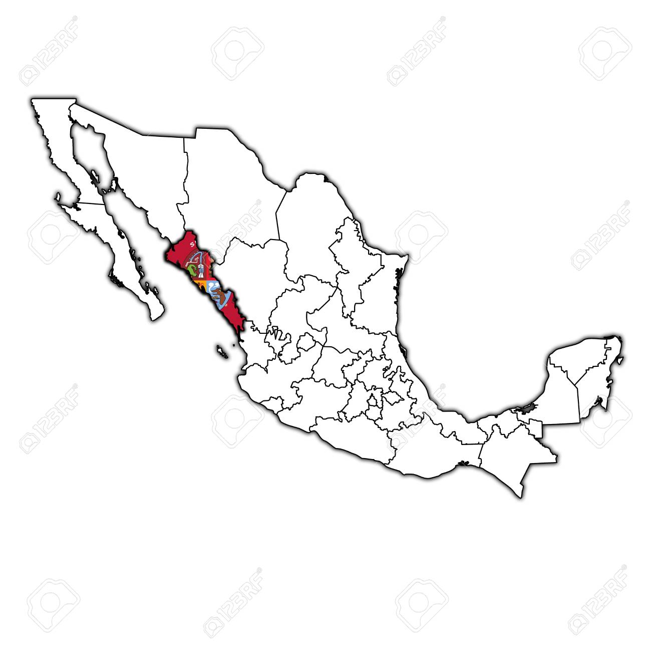 Sinaloa State Map.Emblem Of Sinaloa State On Map With Administrative Divisions Stock