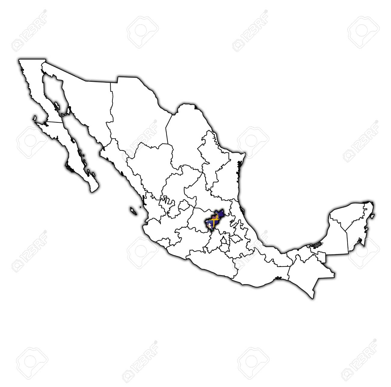 Emblem Of Queretaro State On Map With Administrative Divisions ... on