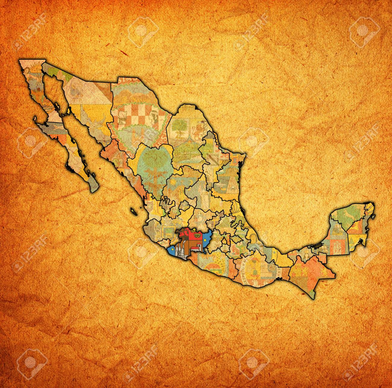 Michoacan State Map.Emblem Of Michoacan State On Map With Administrative Divisions