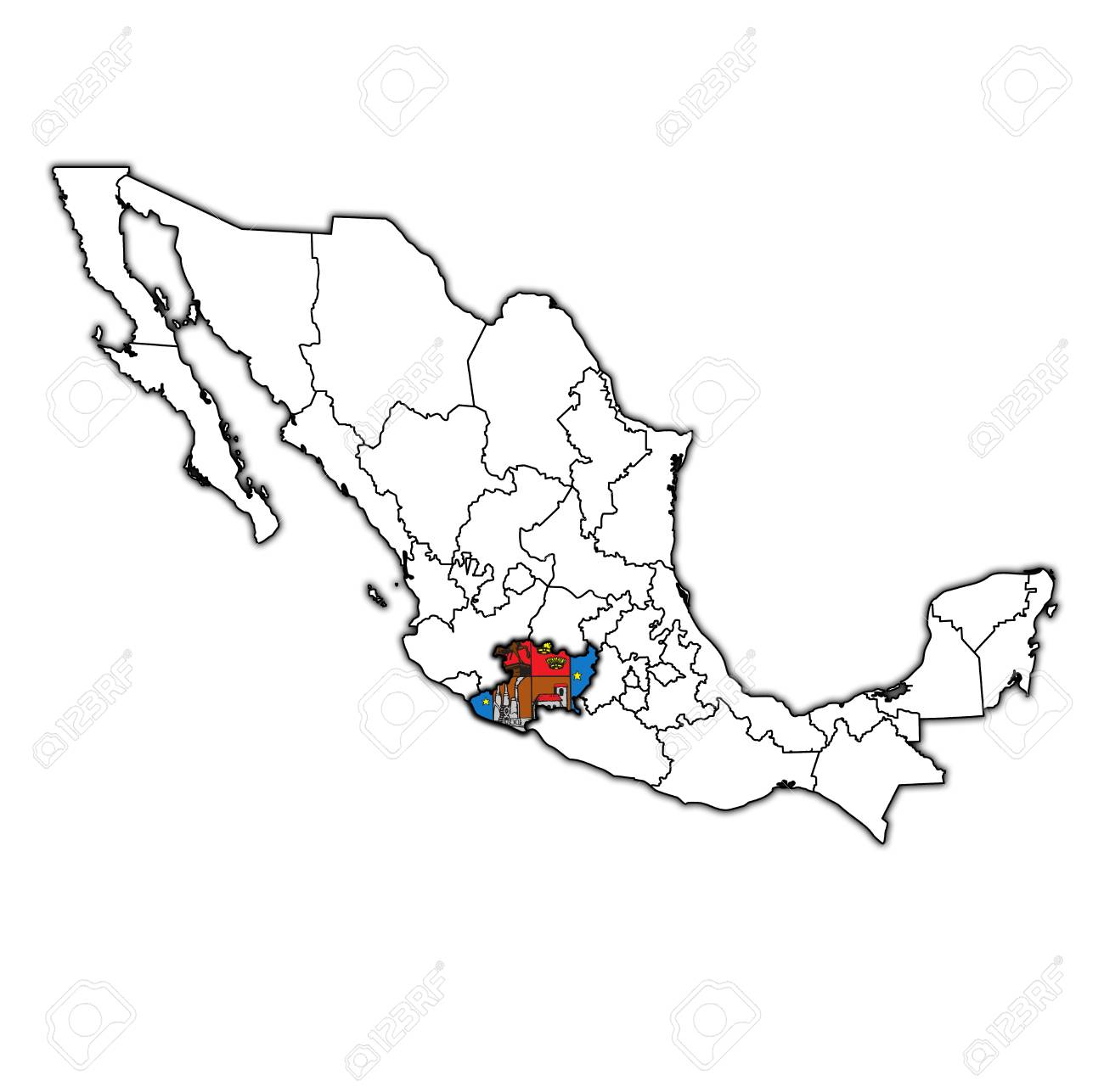 emblem of Michoacan state on map with administrative divisions..