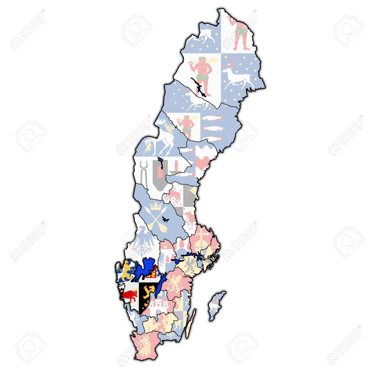 Flag Of Vastra Gotaland County On Map Of Administrative Divisions Stock Photo Picture And Royalty Free Image Image 123055170
