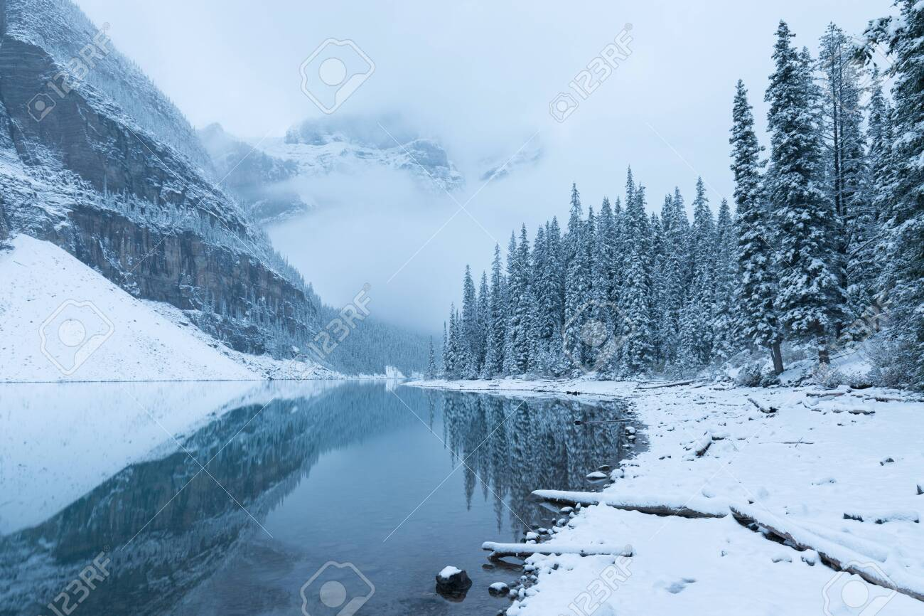 Morning Snow At Moraine Lake In Banff National Park Alberta Canada