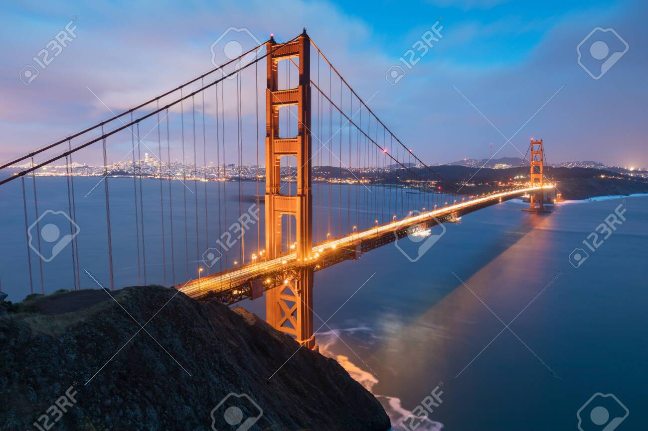 Golden Gate Bridge at sunset, San Francisco, California, USA - 134622286