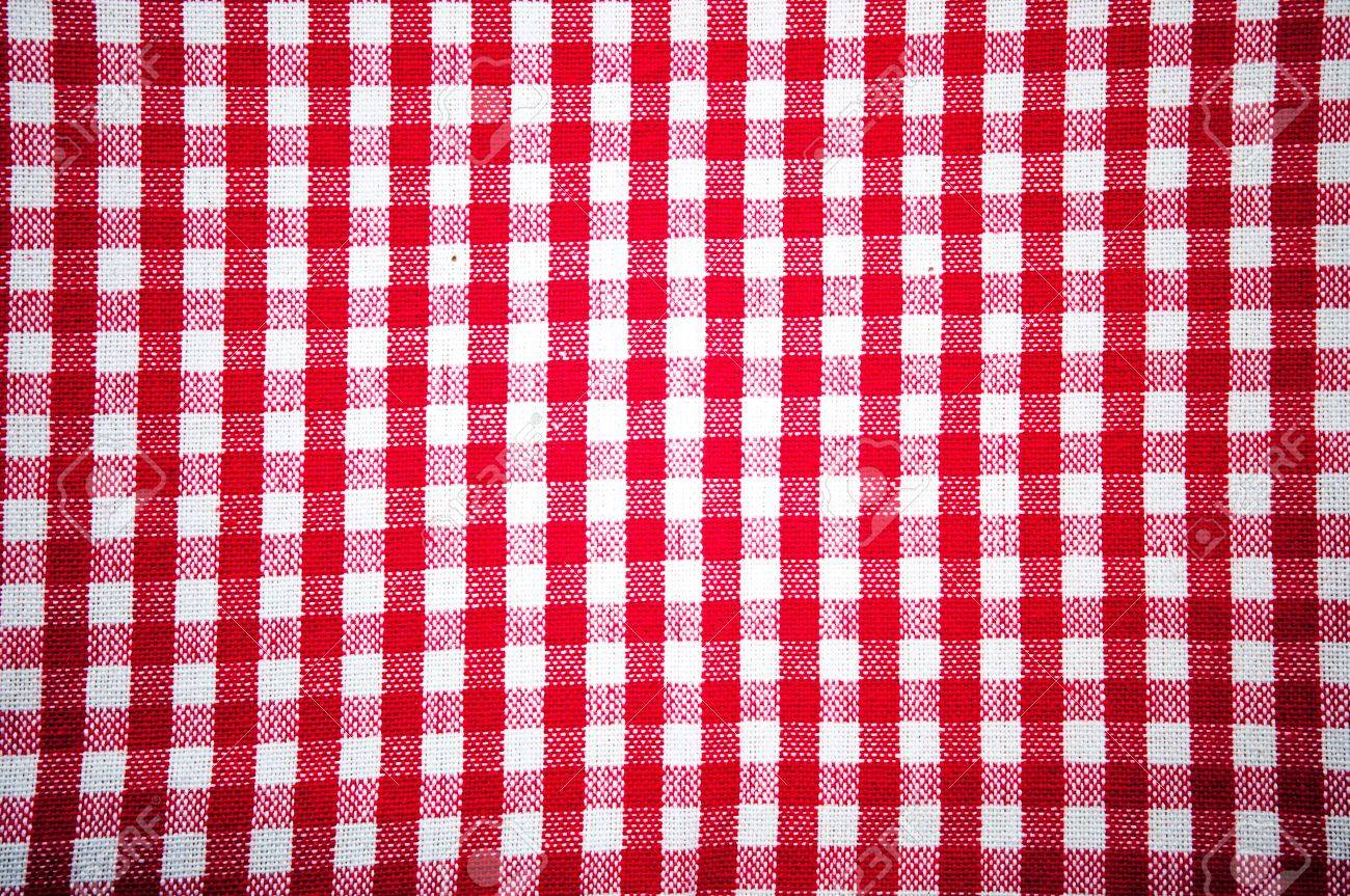 Red And White Grid With A Kitchen Cloth As Background Stock Photo ...