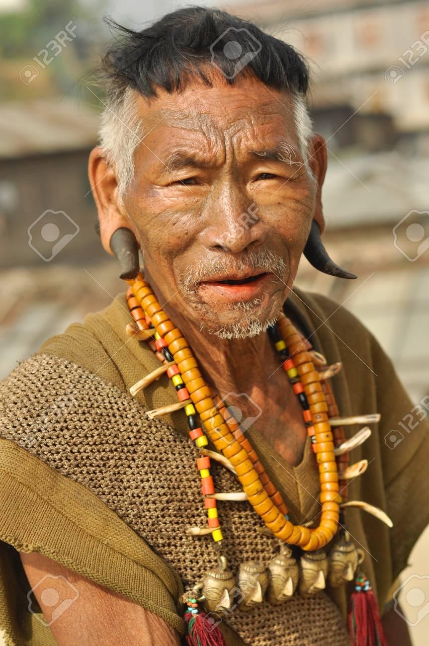 Nagaland, India - March 2012: Traditional outfit of Naga headhunter
