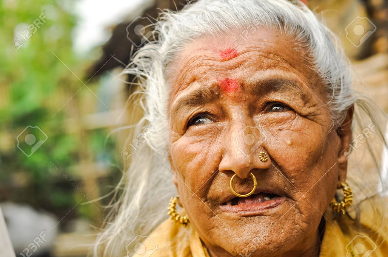 Damak Nepal Circa May 2012 Old Woman With Red Dots On Her