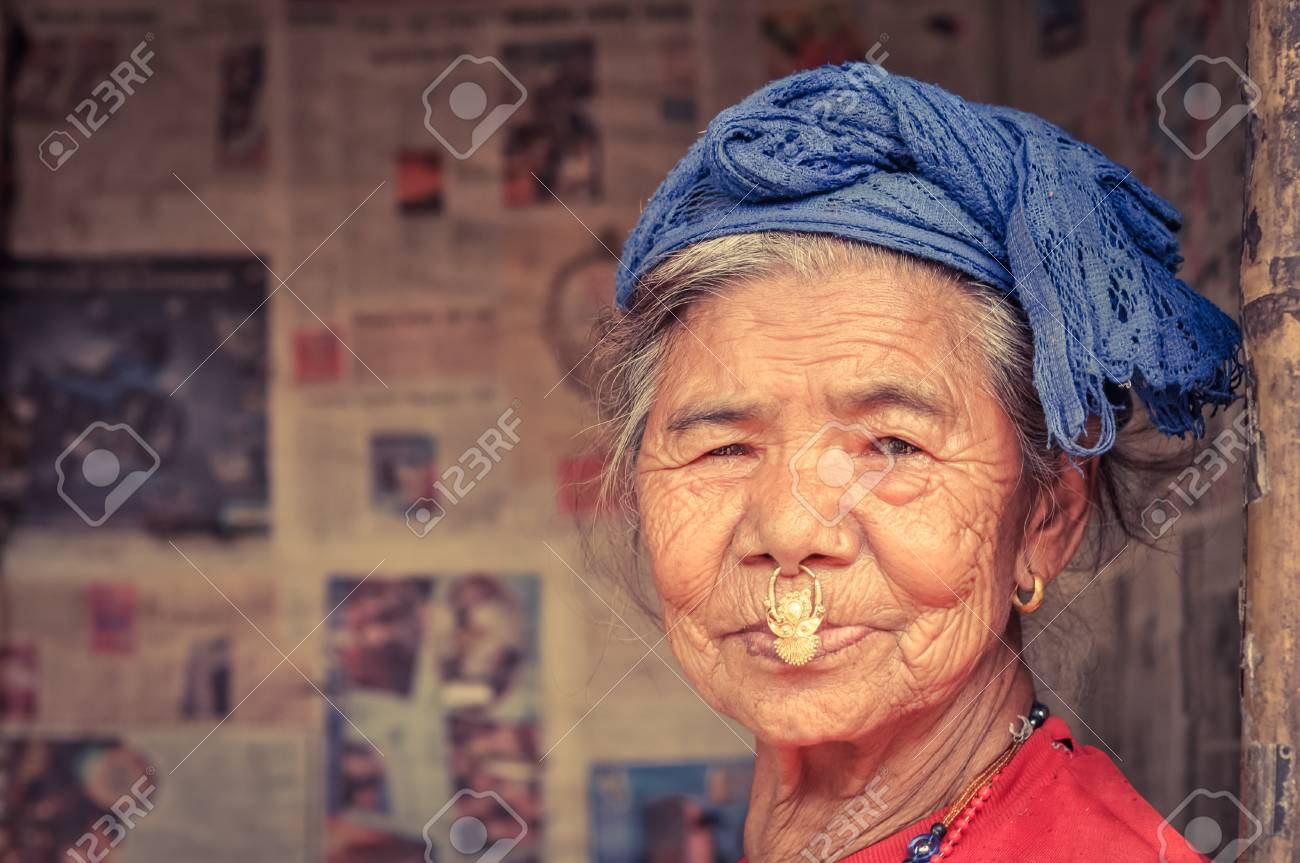 Damak Nepal Circa May 2012 Old Native Woman With Large Piercing