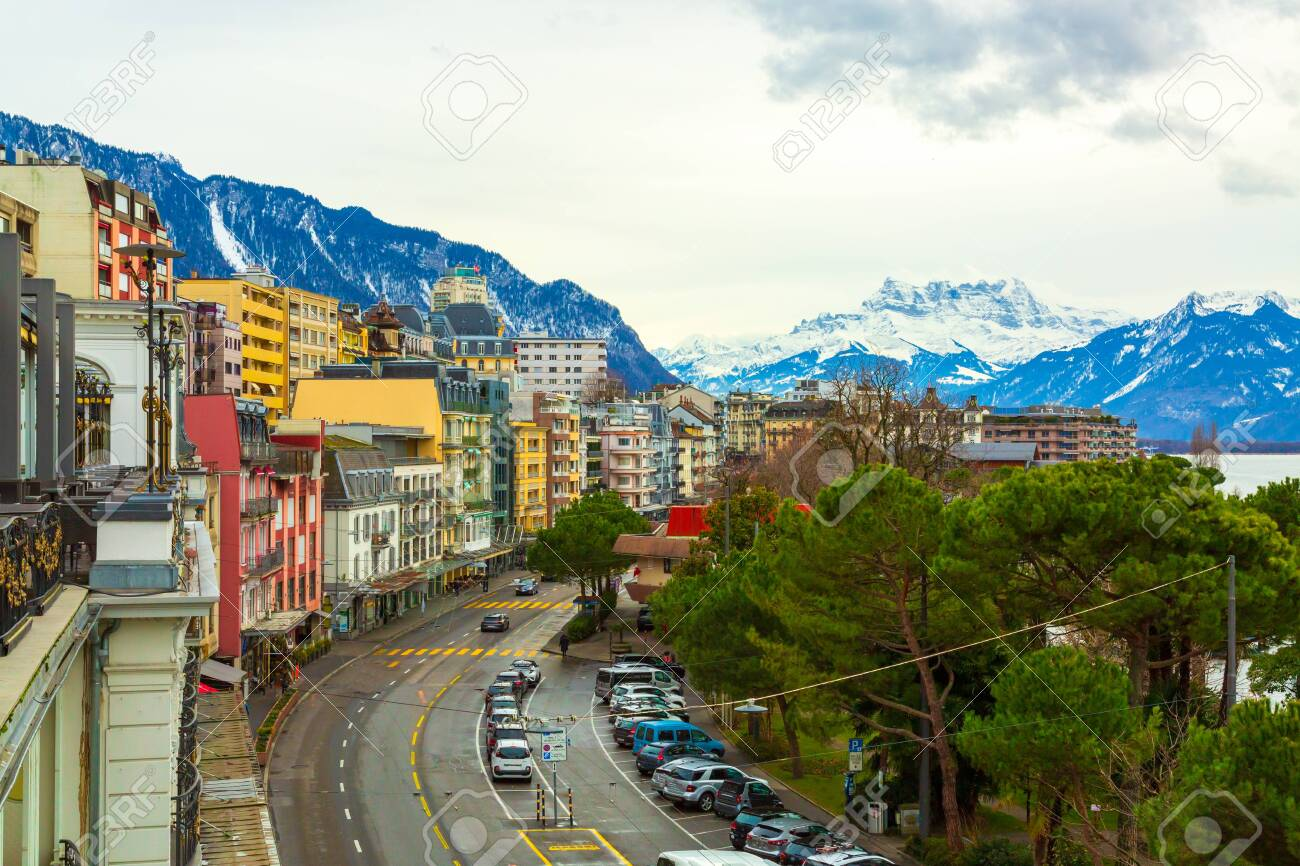Montreux city panorama at winter time, Switzerland - 132369896