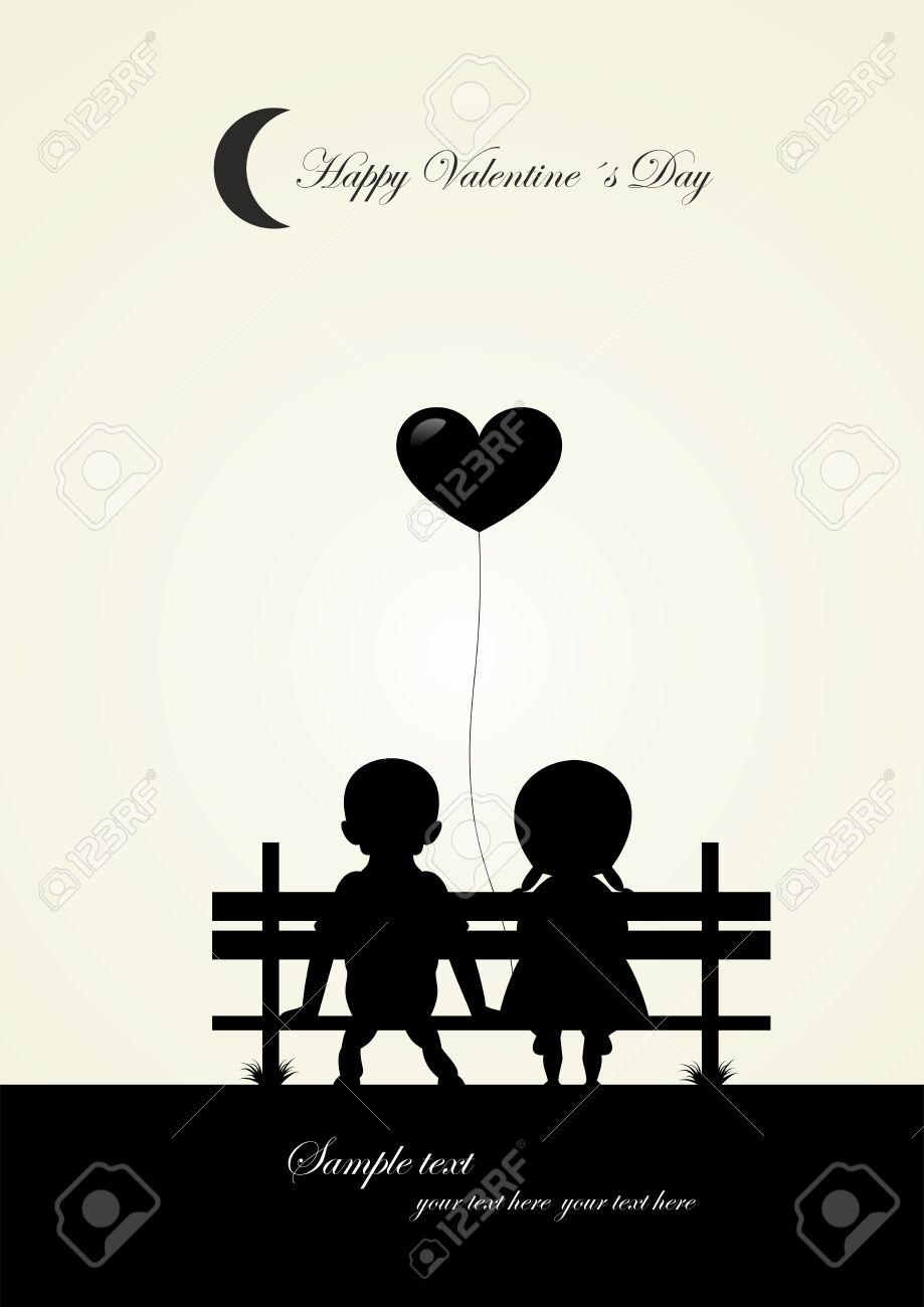 silhouette of boy and girl sitting on a bench vector stock vector 24472945