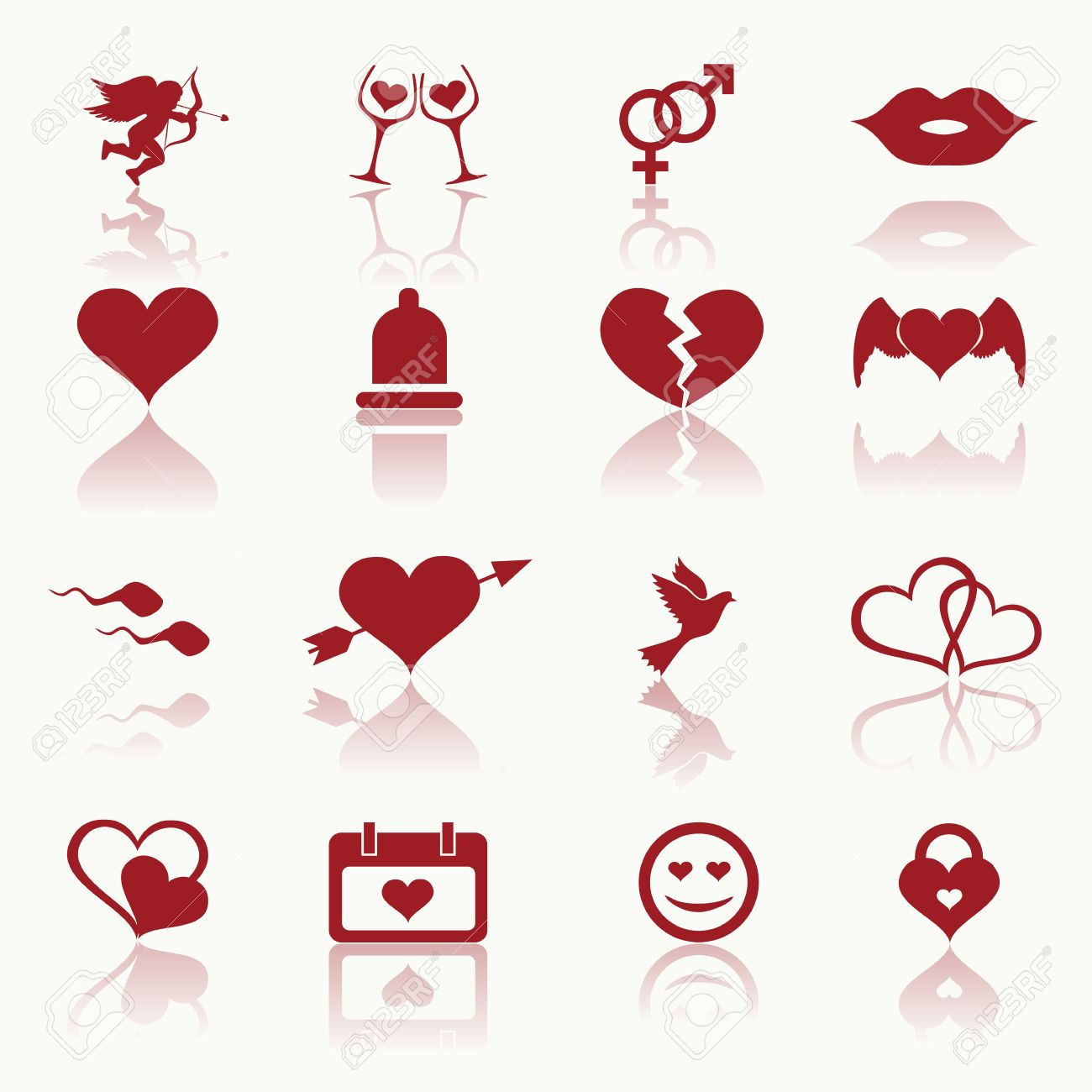 Set Valentine S Day Icons Love On The Internet Symbols Vector