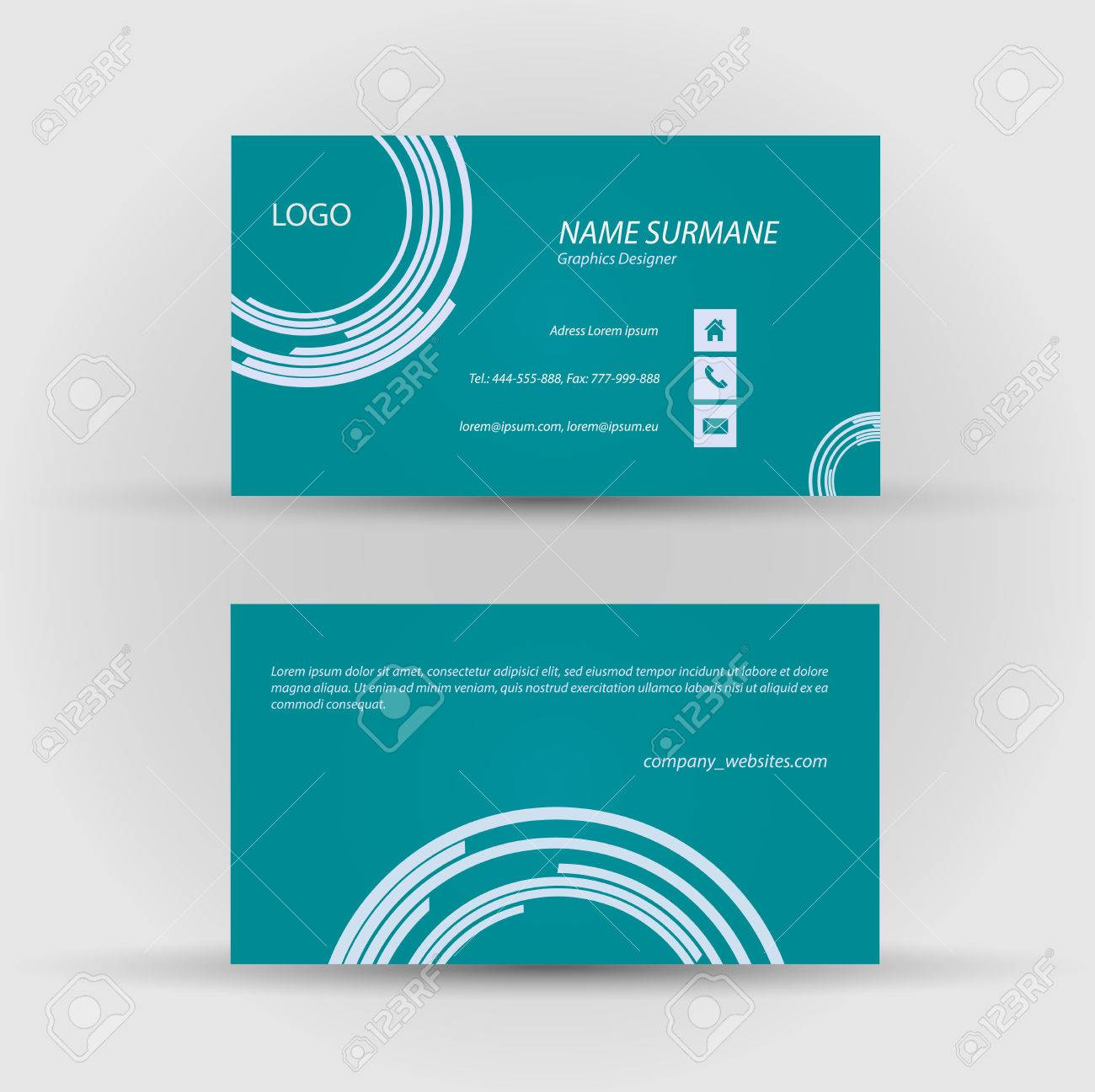Set of modern vector business card template - front and back side Stock Vector - 27458163