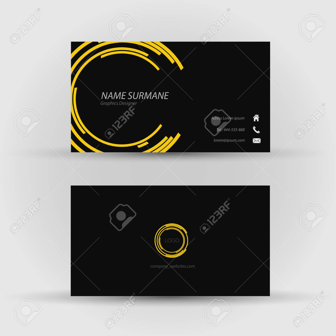 Set of modern vector business card template front and back side banco de imagens set of modern vector business card template front and back side reheart Gallery