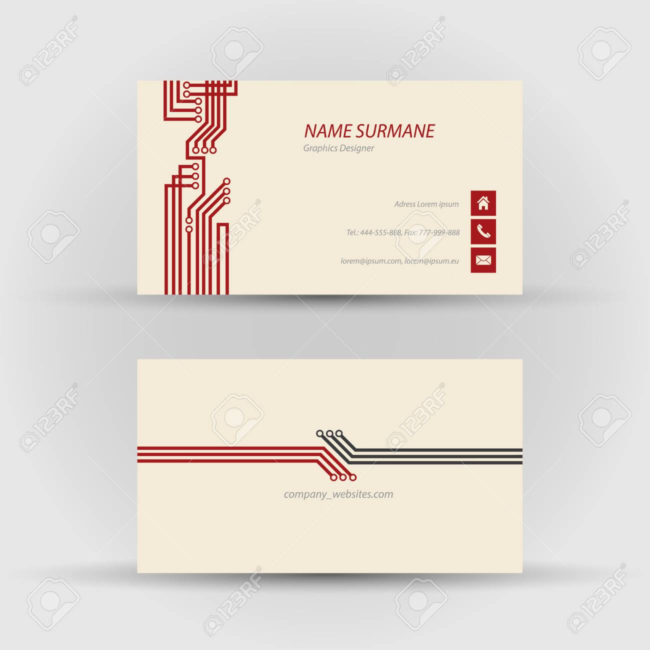 Set of modern vector business card template - front and back side Stock Vector - 27552889