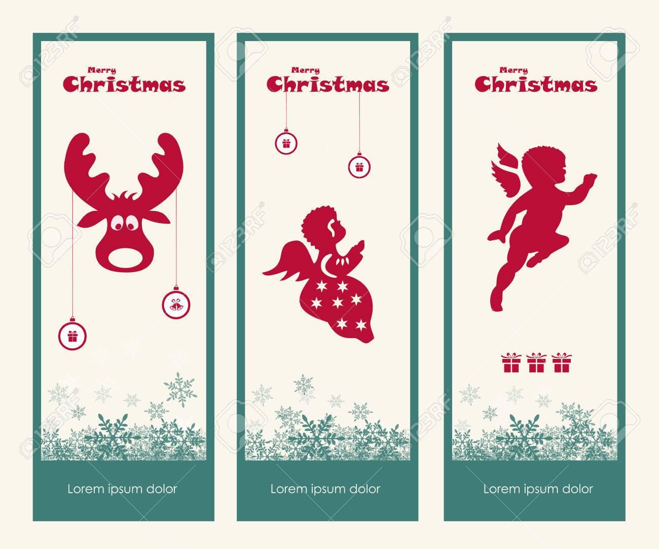 Frohe Weihnachten Geschenkanhänger Sammlung, Vektor, Illustration ...