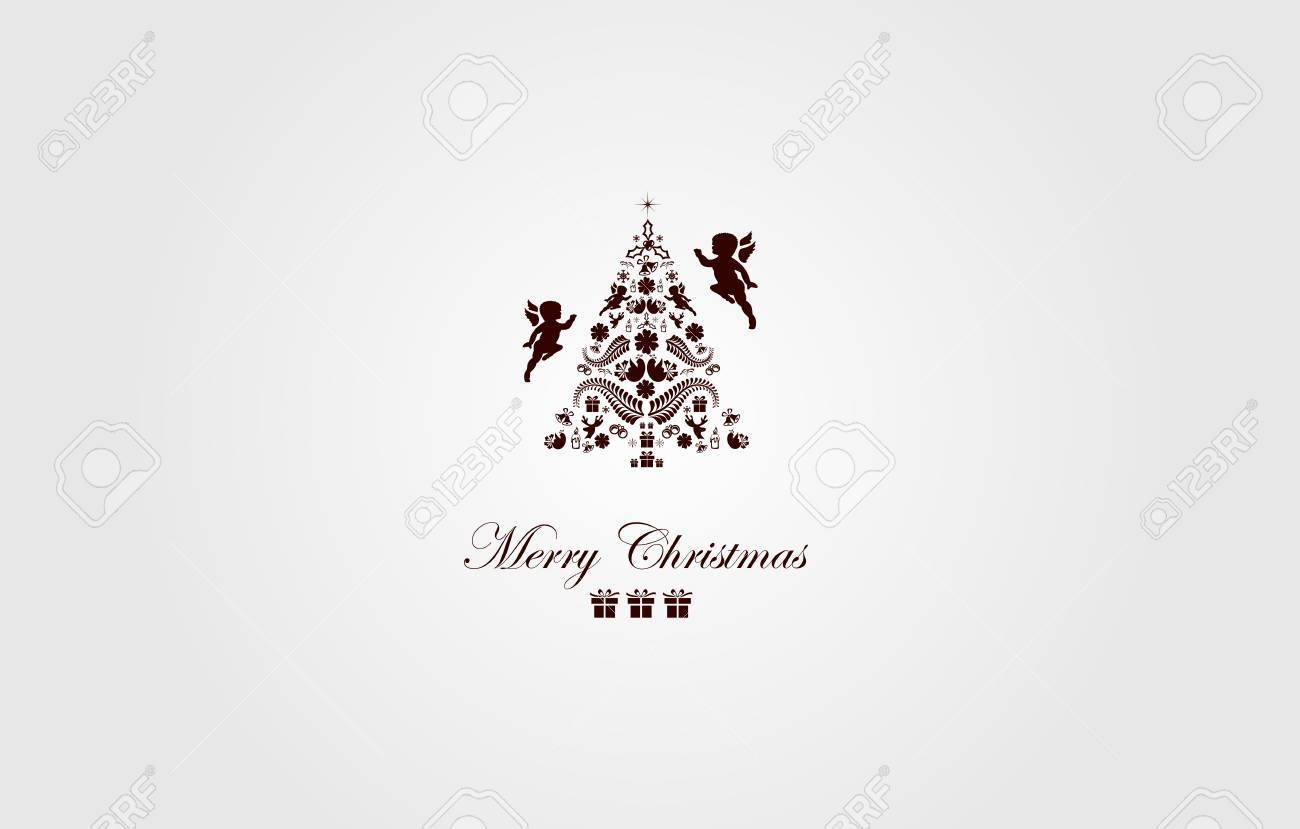 Vintage Christmas Card Beautiful Christmas Tree Illustration Royalty Free Cliparts Vectors And Stock Illustration Image 34237116