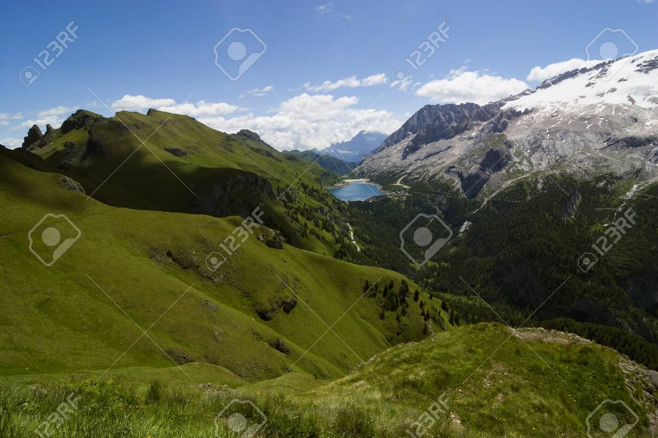 European alps, Italian Dolomites Panorama, Mt Marmolada during a bright blue summer day. Stock Photo - 18019106