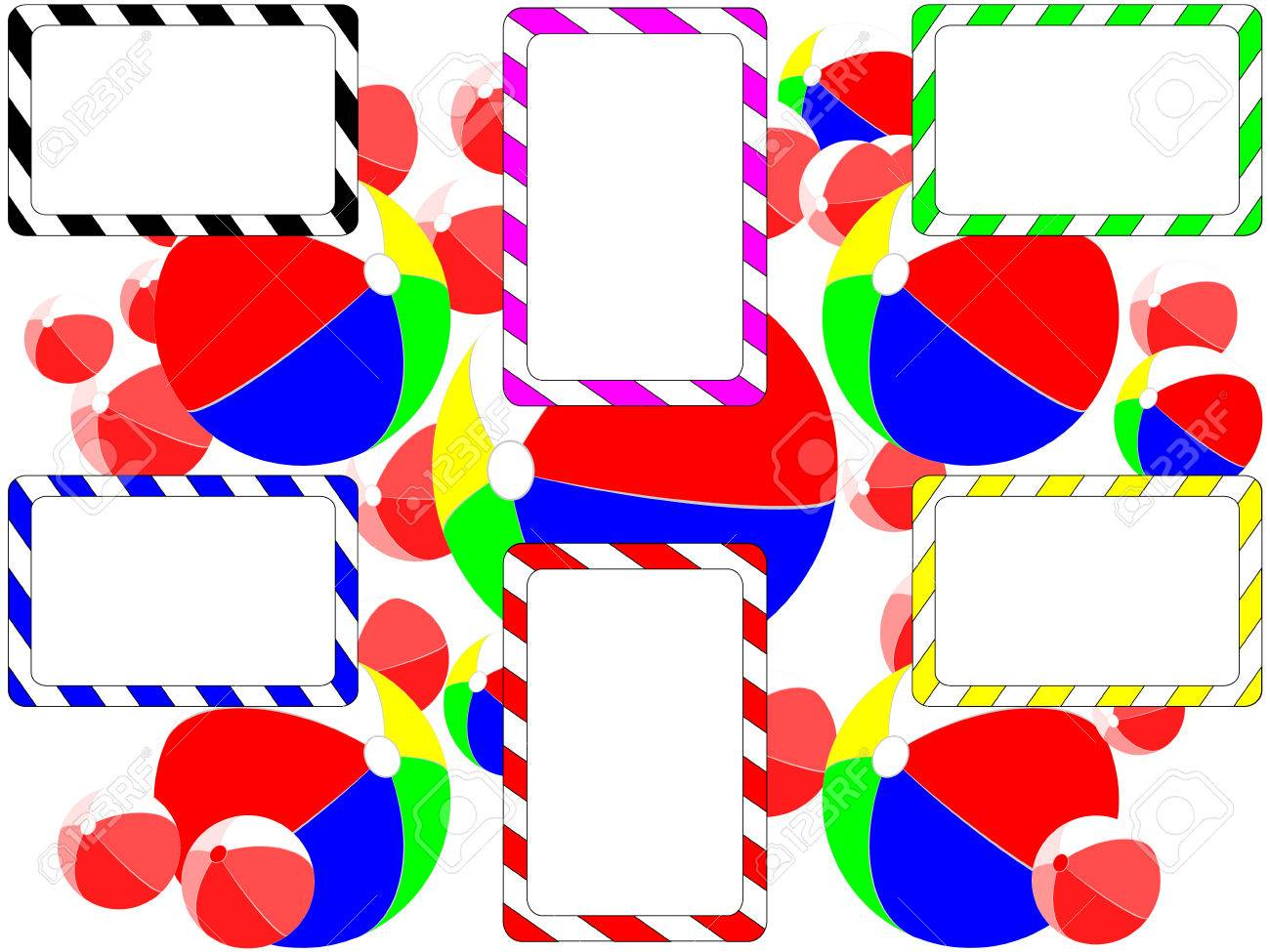 background leaflet balloons and rainbow striped business cards