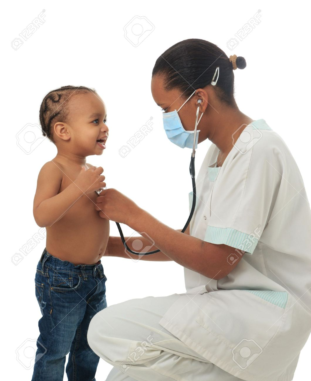 Black African American nurse with child isolated metisse stethoscope infirmiere Stock Photo - 13028022