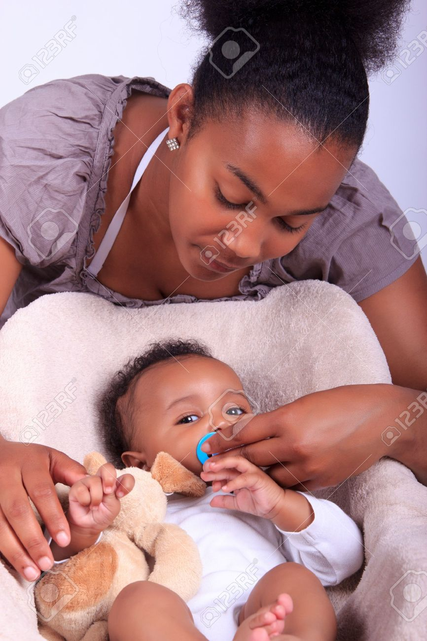 Baby newborn african with mother black stock photo 14777050
