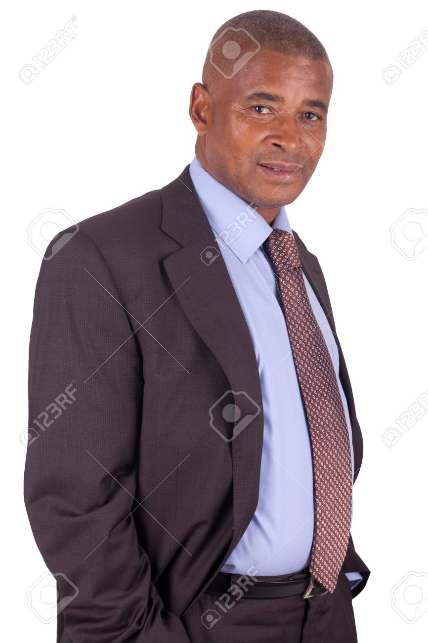 American business man standing on white with hands in pocket Stock Photo - 16305368