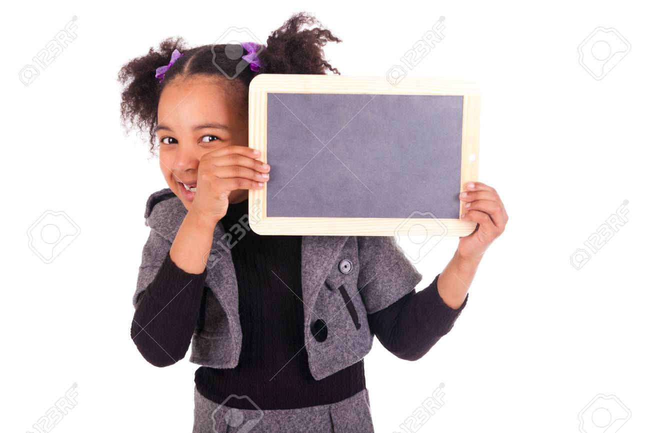 young African girl with a black slate Stock Photo - 18231332