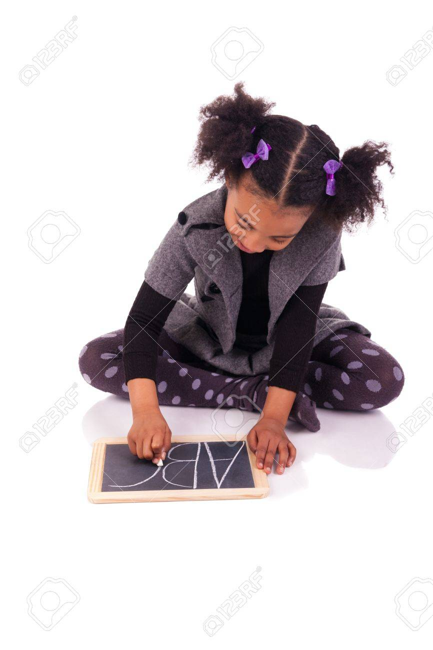 young African girl with a black slate Stock Photo - 18231323