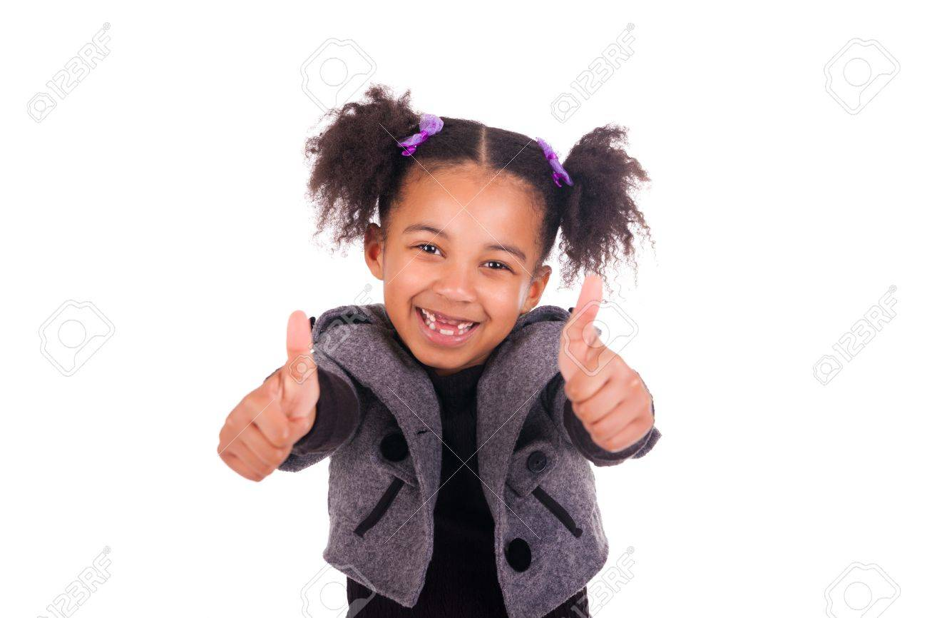 young african girl without teeth on white background Stock Photo - 18635944